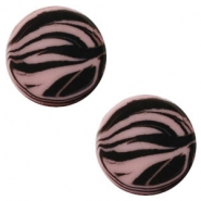 12 mm platte cabochon Polaris Elements zebra Taupe brown