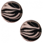 12 mm platte cabochon Polaris Elements zebra Greige