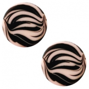12 mm platte cabochon Polaris Elements zebra Light vintage rose