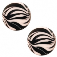 12 mm platte cabochon Polaris Elements zebra Rosa pink