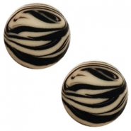 12 mm platte cabochon Polaris Elements zebra Light taupe