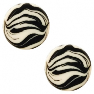 12 mm platte cabochon Polaris Elements zebra Silk beige