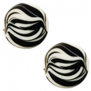 12 mm platte cabochon Polaris Elements zebra Light silver shade