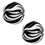 12 mm platte cabochon Polaris Elements zebra Bianco white