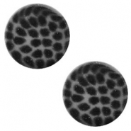 12 mm platte cabochon Polaris Elements leopard Silver night