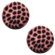12 mm platte cabochon Polaris Elements leopard Peachy coral pink