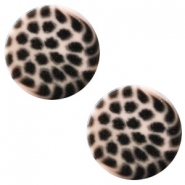 12 mm platte cabochon Polaris Elements leopard Rosa pink