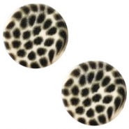12 mm platte cabochon Polaris Elements leopard Silk beige