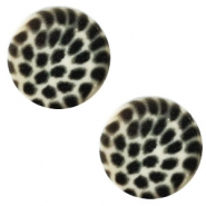 12 mm platte cabochon Polaris Elements leopard Light silver shade