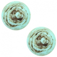 12 mm platte cabochon Polaris Elements stone look Turquoise -brown