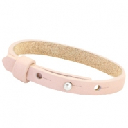 Cuoio armband leer kids 8mm voor 12mm cabochon Soft rose quartz