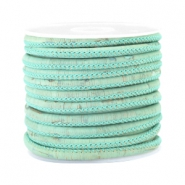 Trendy kurk gestikt 4x3mm Vintage mint green