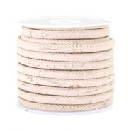 Trendy kurk gestikt 4x3mm Vintage light peachy beige