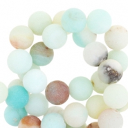 Half edelsteen kralen rond 8mm Amazonite mat Light turquoise multicolour