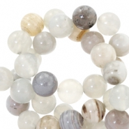 Half edelsteen kralen rond 4mm agaat Grey-beige multicolour opal