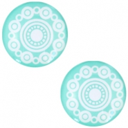 Cabochon basic Zeeuwse knop 20mm Turquoise green
