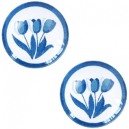 Cabochon basic Delfts blauw tulpen 20mm White-blue