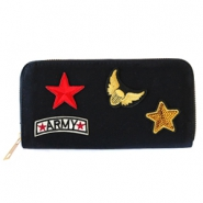 Trendy portemonnees met patches army Black