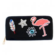 Trendy portemonnees met patches flamingo Black