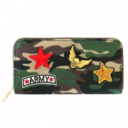 Trendy portemonnees met patches army Green-brown