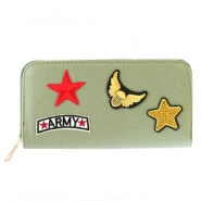 Trendy portemonnees met patches army Khaki green
