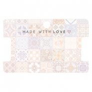 "Sieraden kaartjes ""made with love"" tile print Multicolour rose peach"