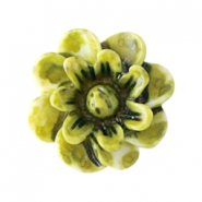 Bloemen kralen 12mm Olive green