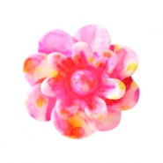 Bloemen kralen 12mm Pink-yellow