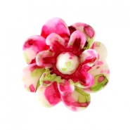Bloemen kralen 12mm Dark rose-white-green