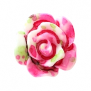 Roosjes kralen 10mm Dark rose-white-green