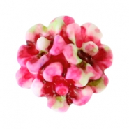 Bloemen kralen boeket 10mm Dark rose-white-green