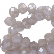 Top Facet kralen 6x4 mm disc Beige champagne opal-pearl diamond coating