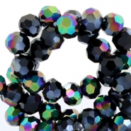 Top facet kralen rond 4 mm Jet black hematite-diamond shine coating