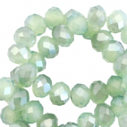 Top Facet kralen 6x4 mm disc Crysolite green opal-pearl high shine coating