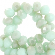 Top Facet kralen 4x3 mm disc Velvet mint green-half champagne half pearl shine coating