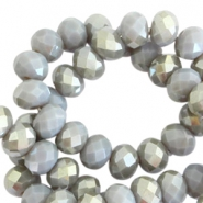 Top Facet kralen 4x3 mm disc Grey shadow opal-half champagne pearl shine coating