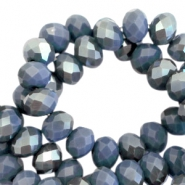 Top Facet kralen 6x4 mm disc Crown blue-half fossil grey pearl high shine coating