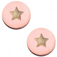 Houten cabochon ster 20mm Nude cream pink