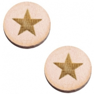 Houten cabochon ster 12mm Nude cream pink