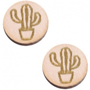 Houten cabochon cactus 12mm Nude cream pink
