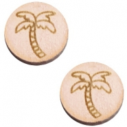 Houten cabochon palmboom 12mm Nude cream pink