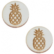 Houten cabochon ananas 12mm Grey