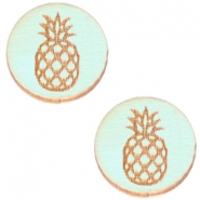 Houten cabochon ananas 12mm Sea green