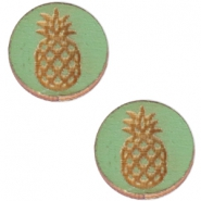 Houten cabochon ananas 12mm Pine green