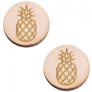 Houten cabochon ananas 12mm Nude cream pink
