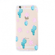 Trendy telefoonhoesjes voor iPhone 7 Plus cactus & flowers Transparent-blue pink