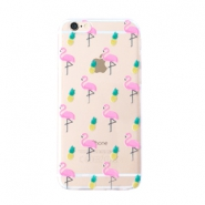 Trendy telefoonhoesjes voor iPhone 7 Plus flamingo & pineapple Transparent-yellow pink