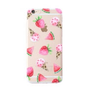 Trendy telefoonhoesjes voor iPhone 7 icecream & fruit Transparent-pink green