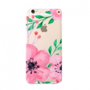 Trendy telefoonhoesjes voor iPhone 6 Plus flower Transparent-pink green