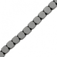 Hematite kralen cube 3mm mat Anthracite grey